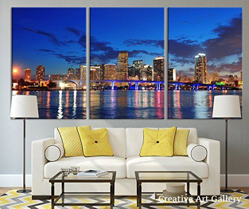 Miami city night large wall art canvas print extra large miami skyline wall art print