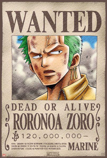 Póster One Piece. Zoro, Se Busca Póster con la imagen del personaje Zoro se busca, perteneciente al popular manga One Piece, este personaje es el espadachín de la tripulación de Luffy.