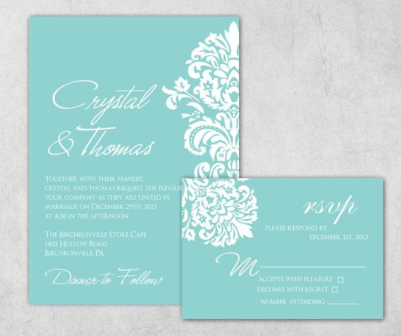 Lovely DIY Printable Tiffany Blue Wedding Invitation   Damask Wedding Invitation  Extra Heavy Card Stock