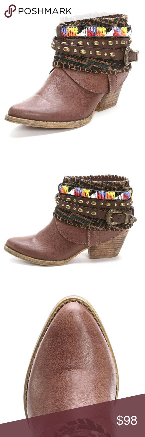 """NWOT Sbicca Beaded Ankle Booties BRAND NEW - IN BOX / Never worn  Sbicca Women's Cleodora Beaded Ankle Boots: The tan material is accented by an aztec print, studded strap, and beaded cuff around the ankle that really makes them stand out! The wedge heel helps these ladies' ankle booties remain comfortable, as well as the cushioned insole.   Color: Tan  Toe: Pointed Toe  Heel: 2.25""""  Shaft: 5""""  Upper: Leather  Sole: Synthetic  Origin: Imported Sbicca Shoes Ankle Boots & Booties"""