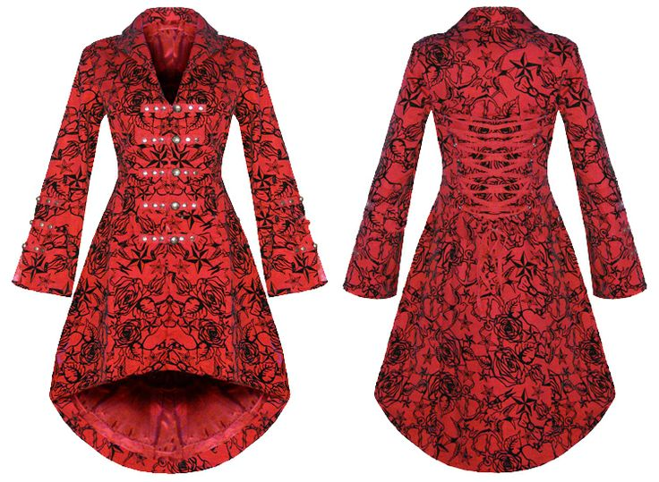 red rockabilly flats | FEMMES NEW RED GOTHIC STEAMPUNK MILITAIRE ROCKABILLY floqué MANTEAU ...