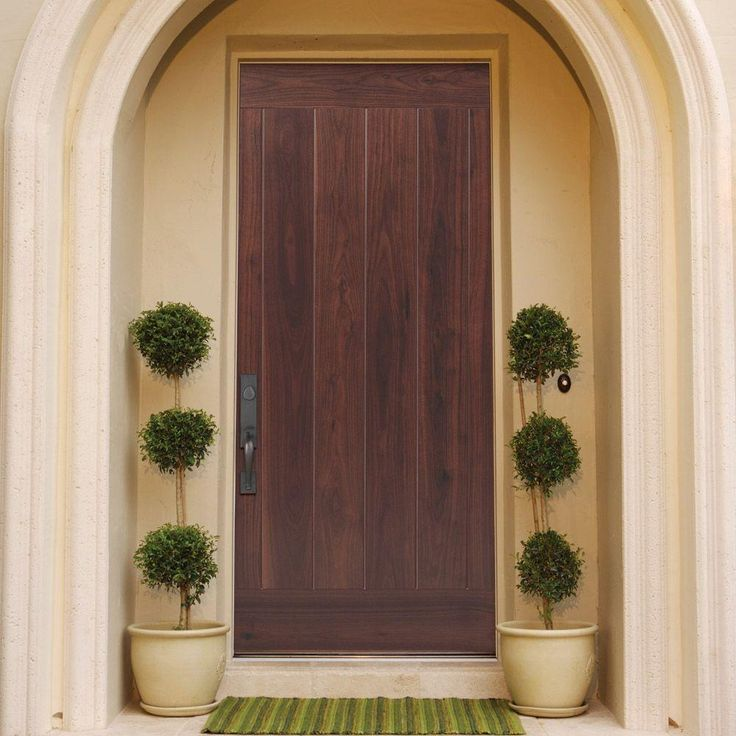 Masonite 36 In. X 80 In. AvantGuard Flagstaff Finished Smooth Fiberglass  Prehung Front Door With No Brickmold, Black Walnut