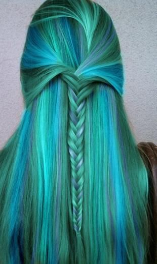 Multi blue colored hair with a braid through the center looking AMAZING!!