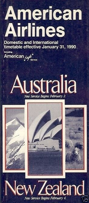 Airlines' that served Auckland Airport, Timetable - American Airlines- 31/01/90 - Australia, New Zealand