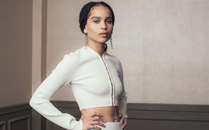 Download wallpapers Zoe Kravitz, photoshoot, 4k, portrait, white dress, American actress, Hollywood