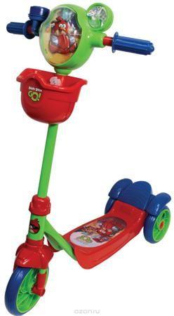 1TOY Самокат детский трехколесный Angry Birds цвет красный синий зеленый  — 2746 руб.  —  Самокат 1toy Angry Birds Go 3-х колесный, корзина, тормоз, звонок, вентилятор, рельефный рисунок на голове