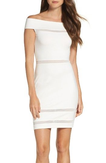 Free shipping and returns on French Connection Lula Off the Shoulder Body-Con Dress at Nordstrom.com. Sheer mesh stripes create a modern look in a fresh white sheath designed with all-day versatility, depending on how you accessorize it.