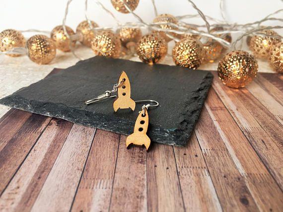 Rocket Ship Earrings Natural Wood Jewellery Spaceship