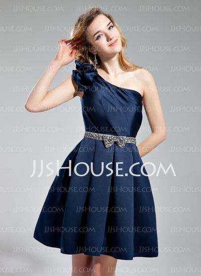 Homecoming Dresses - $126.99 - A-Line/Princess One-Shoulder Knee-Length Satin Homecoming Dress With Sash Beading (022019553) http://jjshouse.com/A-Line-Princess-One-Shoulder-Knee-Length-Satin-Homecoming-Dress-With-Sash-Beading-022019553-g19553