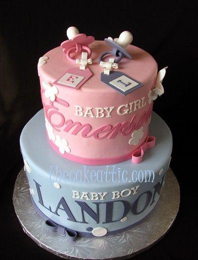 двухъярусный торт с сосками на день рождения двойняшек