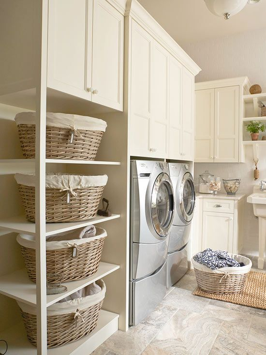 use basket/shelf section alongside stacked washer/dryer  Add a rod to hang clothes small space laundry room ideas4