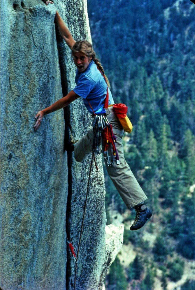 Lynn Hill on a bomber jug after leading Insomnia (5.11), Suicide Rock, California, 1983. photo: Rick Ridgeway. See more photos that inspired the Legacy Collection here: http://j.mp/14D4lgd