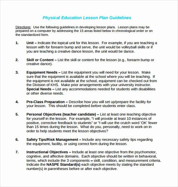 25 Physical Education Lesson Plans Template In 2020 Physical