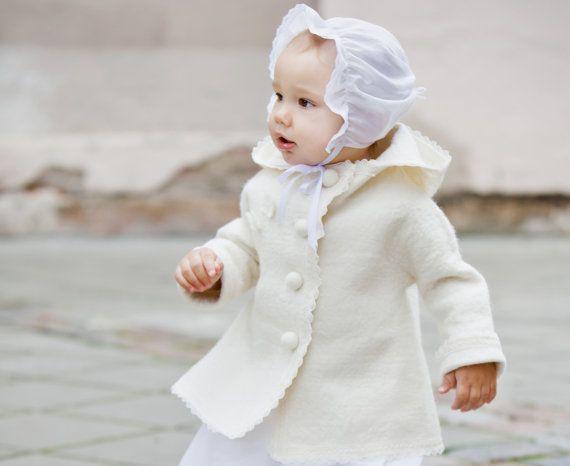 Felted baby jacket white - Christening jacket - christening outfit - girl Baptism clothes - handmade coat  - handmade to order