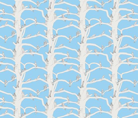 up a tree blue fabric design by van_laun on Spoonflower - custom fabric
