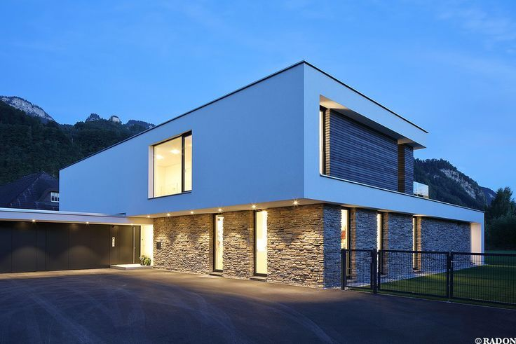 Einfamilienhaus, Pool, Flachdach, Steinfassade, Panoramafenster, Dachterrasse, F…  # Wohn Architektur