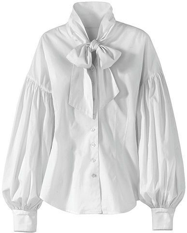 9bb5e5f415168a Spiegel Balloon-Sleeve Tie-Neck Blouse. Romantic tie-neck blouse with shell  buttons and billowy balloon sleeves. Stand collar, shirred drop shoulders  and ...