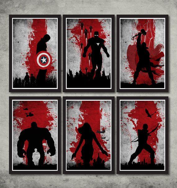 Vintage Avengers Movie Poster Set for 55 dollars    - 1 Captain America poster  - 1 Iron Man Poster  - 1 Thor Poster  - 1 Hulk Poster  - 1 Black