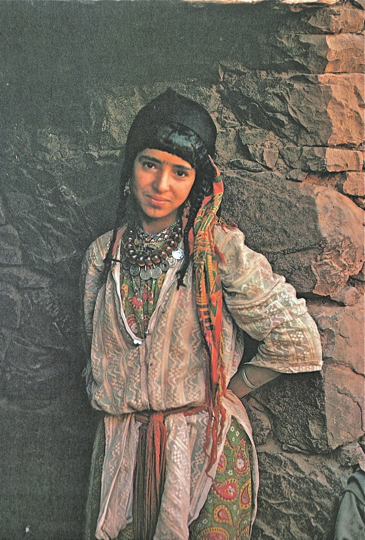 Amazigh berber girl with with facial tattoos, Morocco, 1960s.