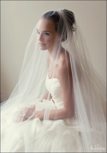 Cathedral length veil with blusher - Photo by Jason