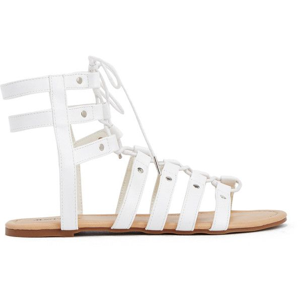 ShoeDazzle Flat Sandals Myra Womens White ❤ liked on Polyvore featuring shoes, sandals, flat sandals, white, lace-up gladiator sandals, strappy flat sandals, strappy lace up sandals, low gladiator sandals and strap sandals