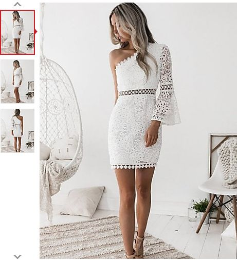 Women's Daily Club Sexy Sheath Above Knee Dress,Solid Color Lace Cut Out One Shoulder Long Sleeves Summer Fall