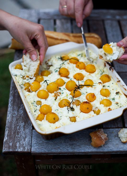 Baked Cherry Tomato, Goat Cheese & Ricotta Dip: easy and delicious cheesy, hot dip appetizer   @whiteonrice  whiteonricecouple.com