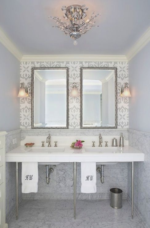 Suzie Mahogany Builders Glam Bathroom With Walls Amp Ceiling Painted Blue Marble Top 3 Leg