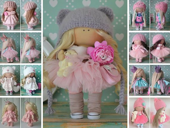 Tilda Doll Textile Doll Handmade Doll Rag Doll Bambole Interior Doll Fabric Doll Pink Doll Muñecas Soft Doll Cloth Doll Baby Doll by Elvira __________________________________________________________________________________________   Hello, dear visitors!  This is handmade cloth doll created by Master Elvira F (Nizhnevartovsk, Russia). All dolls stated on the photo are mady by artist Elvira F. You can find them in our shop searching by artist name: https://www.etsy.com/shop/...