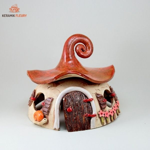 Keramik  Haus Windlicht Gartenkeramik von Keramik-Fleury