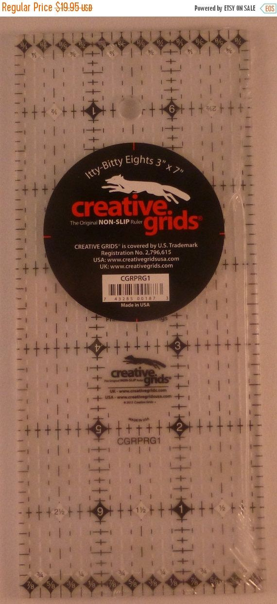 CHRISTMAS SALE Creative Grids Itty-Bitty Eights Rectangle Ruler 3in x 7in, Non-Slip~Quilt , Fast Shipping, TR123