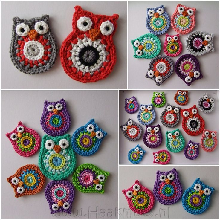 Inspiration: Applique Owls. Patterns by ATERG.crochet. Big: http://www.etsy.com/listing/87023518/crochet-pattern-owl-big-brother-by Small: http://www.etsy.com/listing/88947162/crochet-pattern-owl-by-atergcrochet