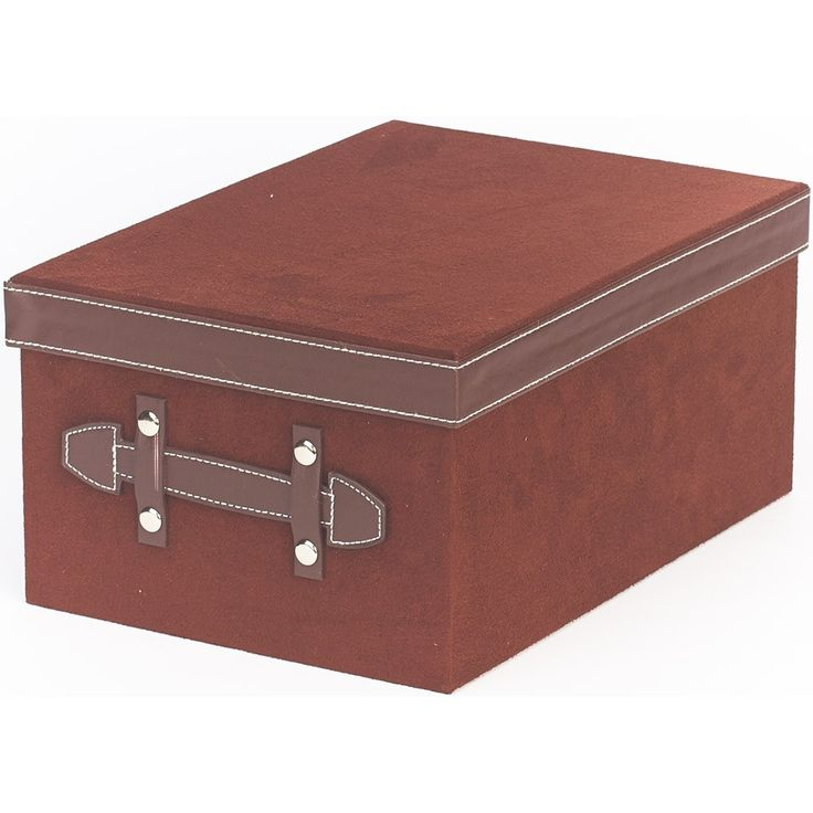 Faux Suede Storage Box with Faux Leather Trim