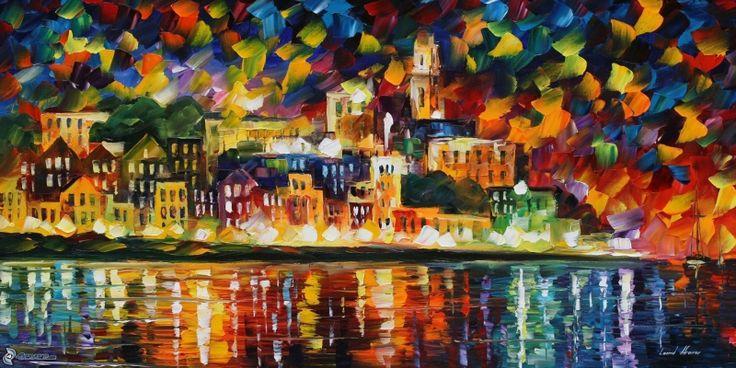 Şehir Manzarası, Akşam Işıkları 3 İç Mekan Dekoratif Modern Kanvas Tablo