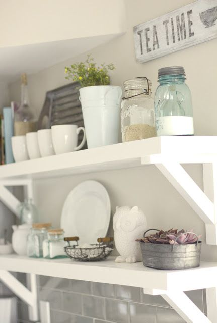 This open shelving with chunky brackets is perfect for favorite kitchen accessories and dishes.