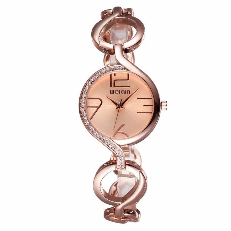 >> Click to Buy << WEIQIN Fashion Accessories Ladies Watch Women Watches Gold Alloy Band Quartz Watch Clock Female Bracelet Wristwatch montre femme #Affiliate