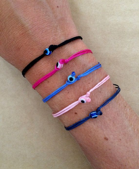 Lucky Evil Eye Friendship Bracelet on Waxed Cord  by IzouBijoux, €6.00