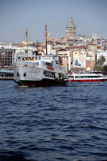 At Eminonu ferry port on the Golden Horn in Istanbul, Turkey