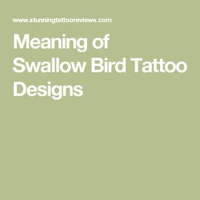 Meaning of Swallow Bird Tattoo Designs