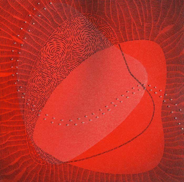 Align by Melissa Smith - printmaker - Tasmanian artist | Collagraph lino cut