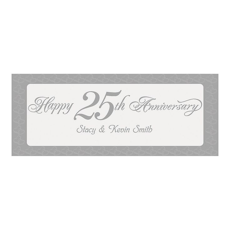 Personalized Two Hearts Happy 25th Anniversary Banner - Small - OrientalTrading.com