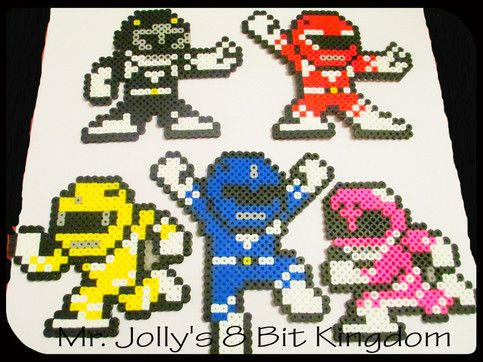 The Power Rangers Collection Set includes all 7 Power Rangers (Red, Black, Blue, Yellow, Pink, Green and White), all handcrafted out of Perler beads and will make excellent decorations for the wall, fridge or anything you can think of!