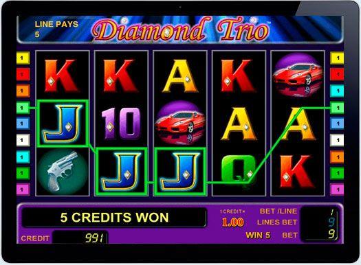 Игровой автомат на реальные деньги Diamond Trio в казино онлайн.  Классический, яркий и привлекательный игровой автоматDiamond Trio о приключениях топ-моделей, которые любят драгоценные камни. Компания-производитель Novomatic Gaminator предлагает любителям азарта выиграть реал�