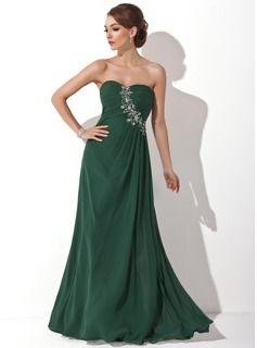 A-Line/Princess Sweetheart Floor-Length Chiffon  Charmeuse Prom Dresses With Ruffle  Lace (018004837)