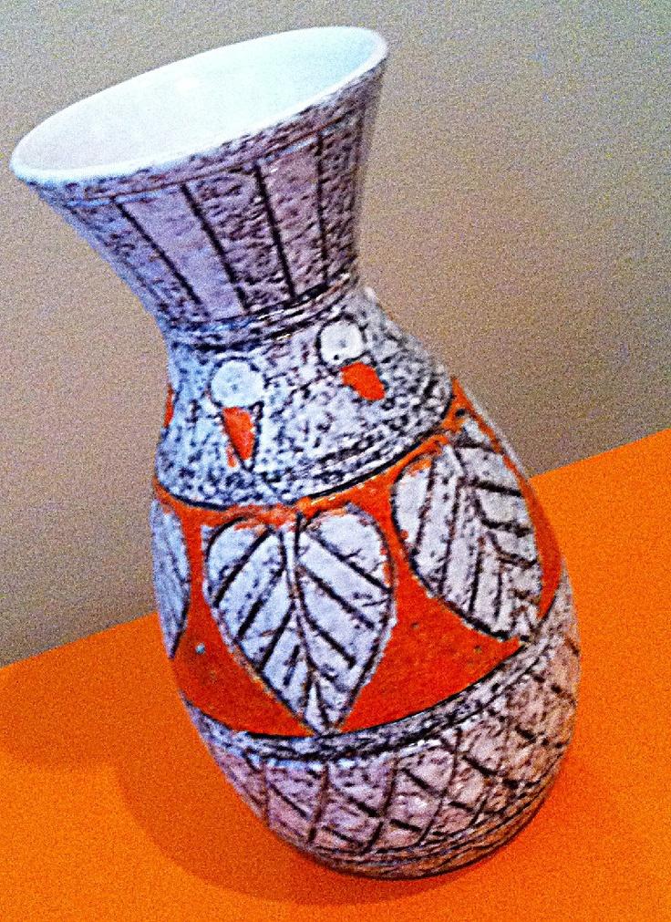 Vintage Mid Century Lava Vase Made In Italy Orange Pottery Vase