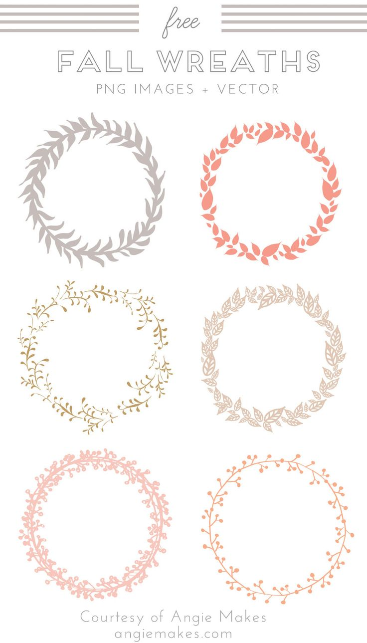 Free Fall Wreath Clip Art. Wreath Vector. Fall Wreath Images and Vector Clip Art. Free Graphics. Freebies. | angiemakes.com