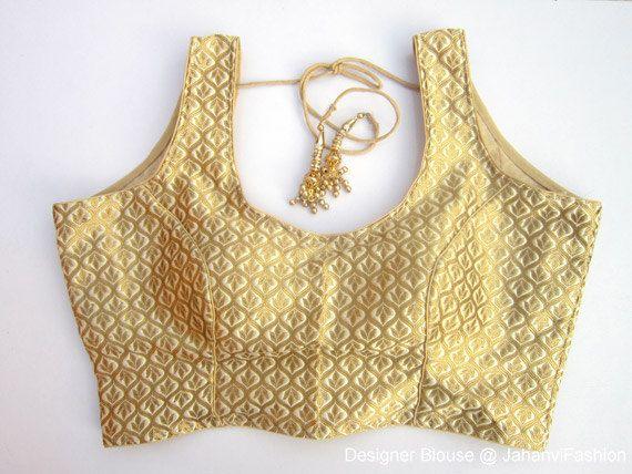 Golden Sleeveless Brocade Blouse - Sari Blouse - Saree Blouse - Sari Top - For Women - Designer saree Blouse - Designer Blouse by JahanviFashionShop on Etsy