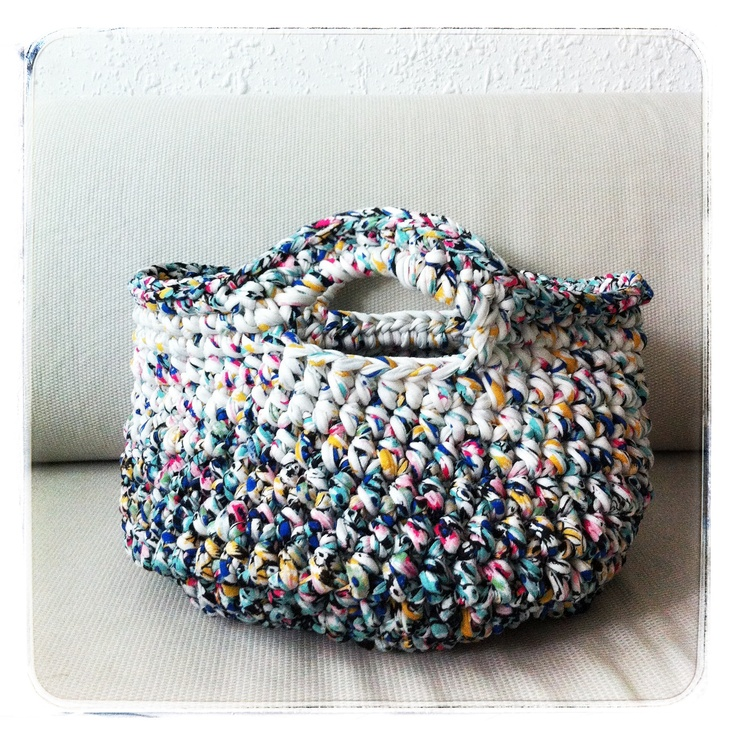 T-shirt yarn basket by Curly Lou Crochet, knitting, sewing, etcetera :) P...