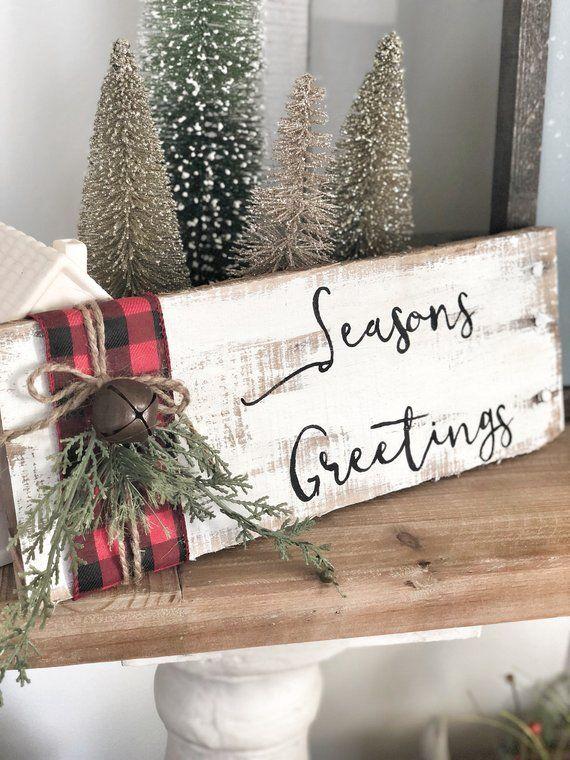 Buffalo Plaid Barnwood Sign Etsy Plaid Christmas Decor