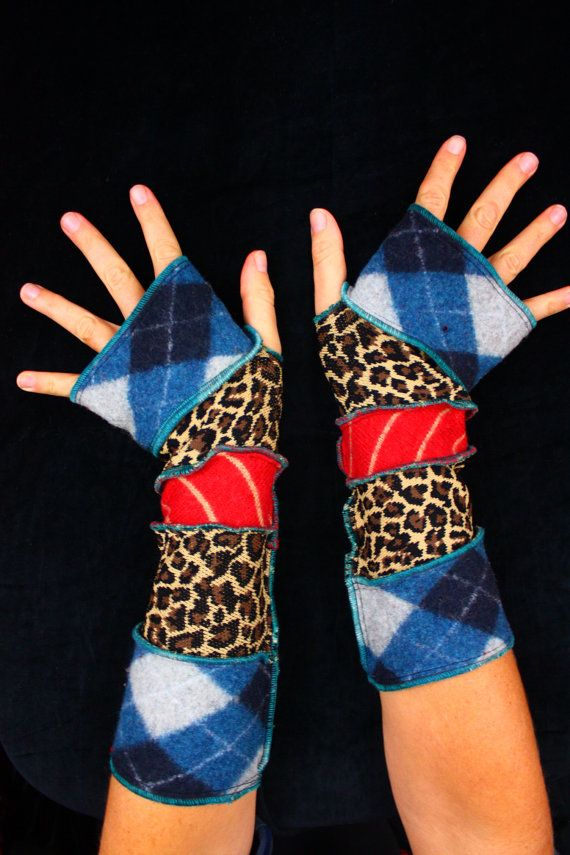 Here is a great pair of arm warmers made from bits of recycled knits. They have a funky palette of argyle, leopard print, and stripes. Enjoy!